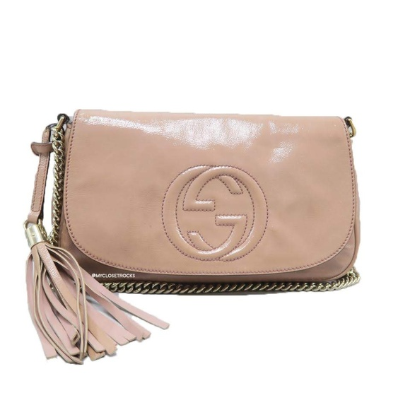 Gucci Handbags - Gucci Soho Disco Beige Patent Leather Crossbody Ba